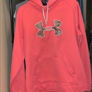 Pink camo under armour sweatshirt